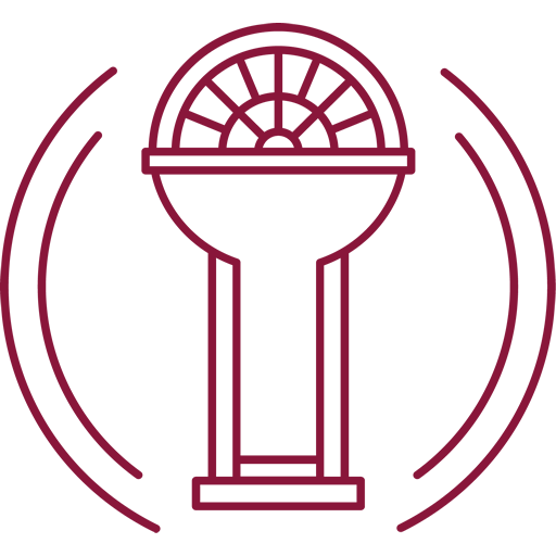 O logo da Sala Precisa é baseado em uma fechadura e em vitrais antigos, com uma semi esfera ao redor